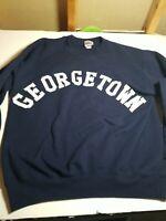 Vintage GEORGETOWN HOYAS Embroidered Spellout Blue Sweatshirt Men's L. ~READ~
