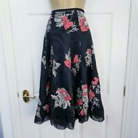 Monsoon Black Floral Embroidered Skirt Size UK 14 Linen & Silk Midi Lined