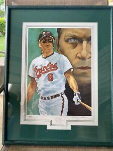 """""""Cal Ripken"""" signed Richard Jackson Orioles lithograph litho framed 101/888"""