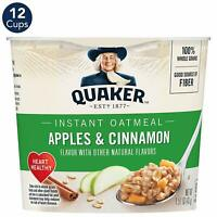 Quaker Instant Oatmeal Express Cups,Apples & Cinnamon,Breakfast Cereal (12 Cups)