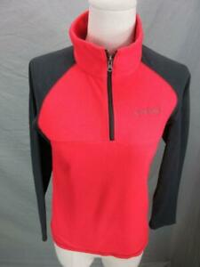 Columbia Size M(10-12) Boys Red/Black Athletic 1/4 Zip Fleece Sweater T449