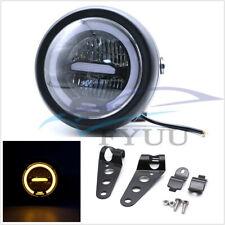 "6.8""Universal Retro Motorbike LED Headlight Amber Halo Ring Daytime Ruuning Lamp"