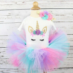 Milkiwai Its My 1st//2nd Birthday Newborn Baby Girl 1 Year 4Pcs Unicorn Onesie Tutu Outfit Dress Headband Legging Socks Set