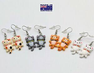 Cute Japanese Kawai CAT / Kitten Novelty Dangling EARRINGS Gift Dress Accessory
