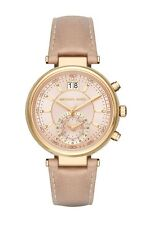 Michael Kors MK2529 Sawyer Gold Peanut Leather Rose Gold Dial 39MM AUTHENTIC NEW