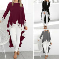 Women Long Sleeve Irregular Shirt Casual Loose Blouse High Low Dip Hem Top Dress