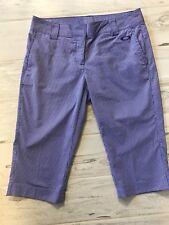 Oakley Womens Capri Crop Pants Purple White Pinstripe - Size 10