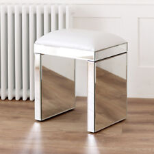 Venetian Mirrored Glass Dressing Table Stool - White Seat Pad Bedroom - VEN05W