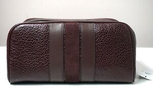 Coach Varsity Stripe Leather Oxblood Travel Kit F21387