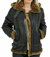Womens Bomber Leather Jacket Flying Aviator Brown Fur Collar Shearling Ladies