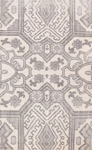 Vintage Style Geometric Oushak Oriental Area Rug Hand-knotted Wool Carpet 4'x6'