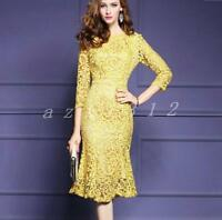 Women Yellow Lace Fishtail Hem 3/4 Sleeve Cocktail Fashion Party Sheath Dress C8