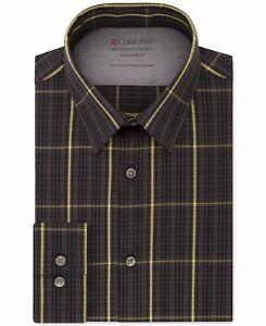 Calvin Klein Mens Dress Shirt Gray Yellow 17- 17 1/2 Slim Fit Plaid $79 147
