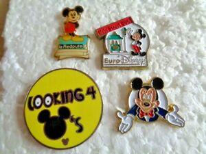 Job lot of 4 Disney Rare Mickey Mouse cartoon character metal lapel pins