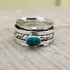 Turquoise 925 Sterling Silver Ring Meditation Spinner Ring Size 10 ro20086