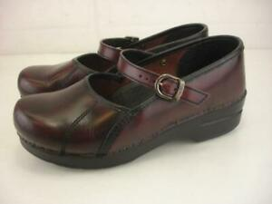 Womens 8.5 9 sz 39 Dansko Marcelle Burgundy Leather Mary Jane Clogs Buckle Shoes