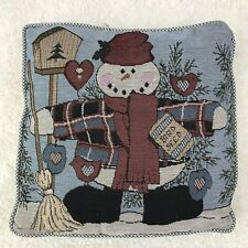 Needlepoint Pillow Christmas Snowman 13X13 Blue Green White Gingham Back