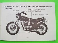 1980 - 1984 YAMAHA XS 650H MOTORCYCLE OWNER MANUAL Factory Original VG++