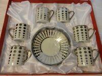Set of 6 Ceramic Demitasse Espresso Cups with Saucers by Joseph Sedah White & Si
