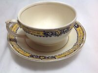 BONE CHINA CUP & SAUCER BY GRINDLEY ENGLAND CREAMPETAL YELLOW BAND FLOWERS