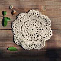 4pcs Round Hand Crochet Floral Table Mat Cloth Doily Coasters Hollow Handmade