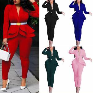 2PCS Womens Ladies Ruffle Blazer Suit Jacket Coat Pants Work Formal Business Set