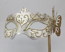 Blanc et or vénitien mascarade partie de bal carnaval masque yeux Hand Held Stick