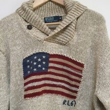 MEN S POLO RALPH LAUREN POLO USA Drapeau 67 beige pull sweater Taille M-M 0a35a3b18c4