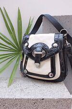 Karen Millen Colour Block Leather Cross Body Messenger Bag Tote Shoulder Handbag