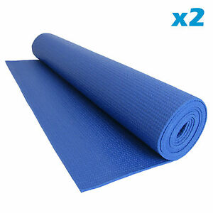 Yoga Exercise Mat Fitness Physio Pilates Gym Non Slip with Carry Bag Set of 2