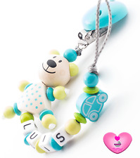 ♥ Schnullerkette mit Namen ♥ 3D Teddy Bär ♥ Auto ♥ Baby Junge ♥ türkis blau ♥