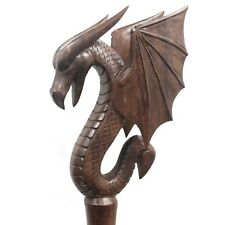 Sceptre Suar Wood Dragon on Ceremonial Staff Hand Carved in Bali