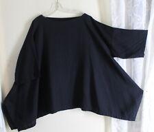Eskandar Sz 0 BLACK Linen A-LINE Sculptural Sweeping Blouse Tunic Shirt Top