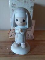 Precious Moments Figurine PM 12203 Get Into The Habit Of Prayer W Box Nun Dove