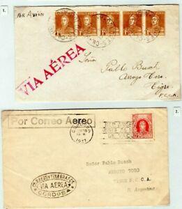 ARGENTINA Air Mail Covers{2} LLOYD AERO CORDOBA Cachet JUNKERS 1925-7 EP412