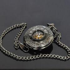 SOKI Black Luxury Skeleton Mens Analog Mechanical Hand Winding Pocket Watch