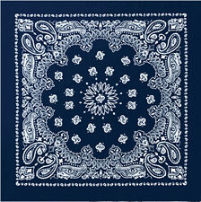 "Navy Blue Trainmen Cotton Paisley Biker Sport Bandana 22"" x 22"""