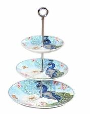 New Peacock 3 Tier Cake Plate Fine Bone China Plate Cake Stands High Tea w Box