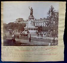 Photo L.L. - Paris Place de la République - Epreuve Albuminé 1890 - Collages