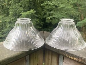 Pair of Antique Holophane XF-25 Signed Glass Light Shades; Utilitarian