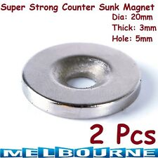 2 x Rare Earth Magnets 20mm x 3mm Countersunk Disc Hole N35 Neodymium Strong Big