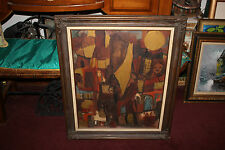 Vintage Creepy Eerie Scary Oil Painting-Faces Bodies In Windows-Signed BAHA-1977