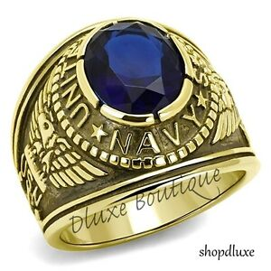 Men's 14k Gold Plated Simulated Sapphire US Navy Military Ring Size 8-14