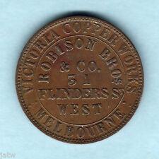 Australia Token. Robison - 1862 1d.. Melbourne Vic..  Emu .. gVF/aEF