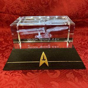 Star Trek U.S.S Enterprise NCC-1701-D Hamilton Collection Glass Statue 2008 RARE
