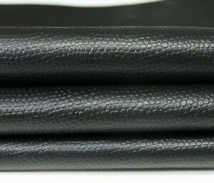 BLACK REPTILE EMBOSSED textured Italian CALF CALFSKIN Leather skins 30sqf #A4623