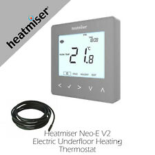 Heatmiser NeoStat-E  Electric Underfloor Heating Thermostat Silver Smart Options