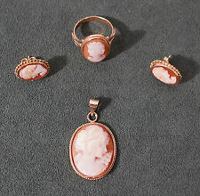 Vintage 14k Yellow Gold Shell Cameo Pendant, Earrings and Ring Set
