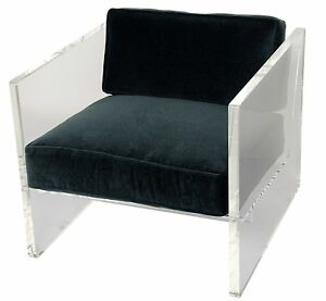 """31"""" Set of Two Accent Chair Contemporary Clear Acrylic Frame Blue Cotton Acrylic"""