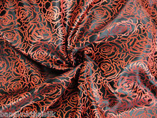 BLACK RED ROSES SHANTUNG FAUX SILK BROCADE FABRIC BTY BLOUSE DRESS ORIENTAL